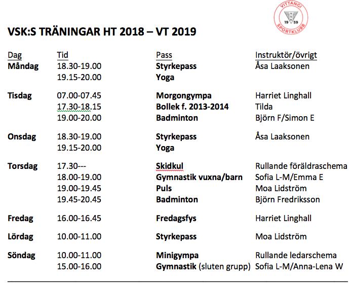 Vsk S Traningar Ht 2018 Vt 2019 Vittangi Sportklubb